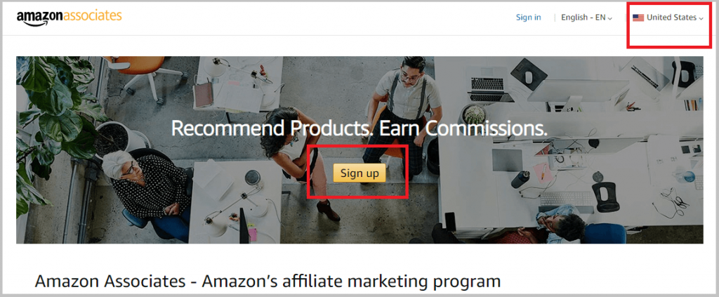 amazon associates sign up page